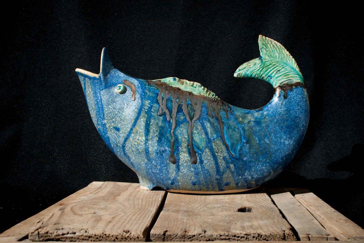 Stoneware Pitcher 'Blue Fish'