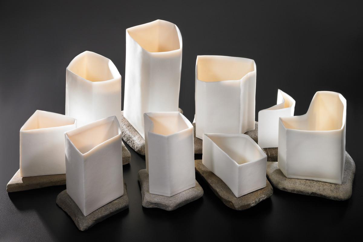 Porcelain Cardboard Cast Vessels On Rhinestones 'Hamlet In The River'
