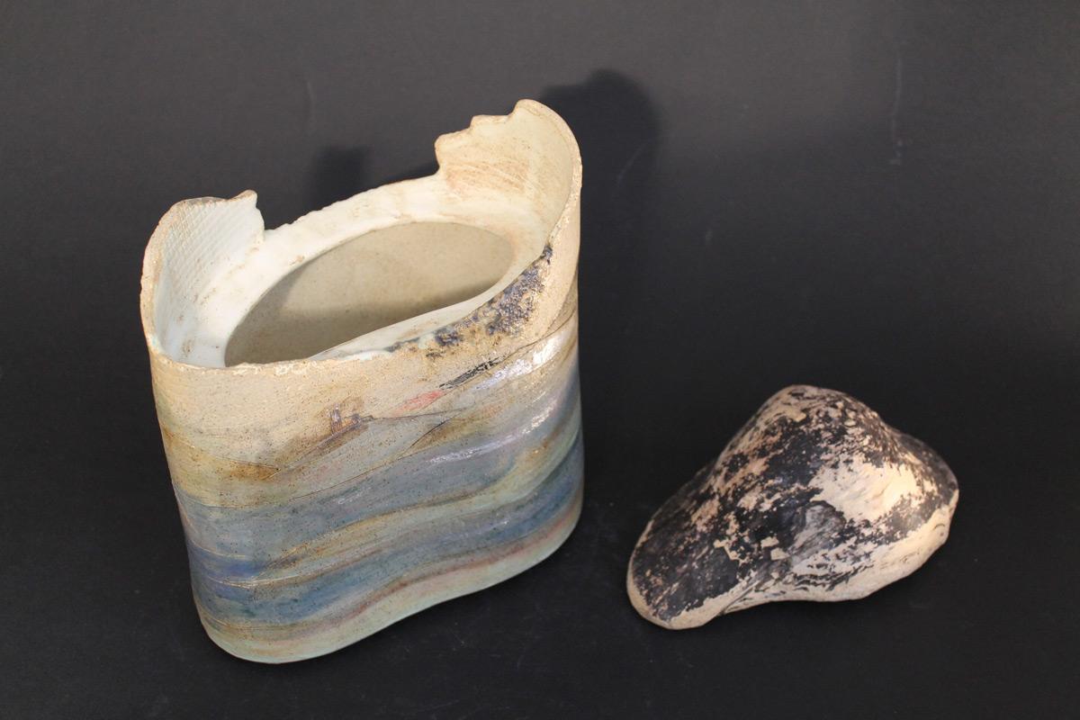 Stoneware Box With Driftwood Lid 'Scozia'