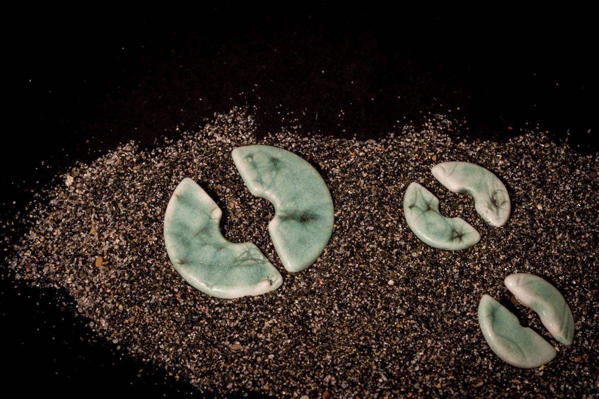 Porcelain Earstickers 'Half Moon'