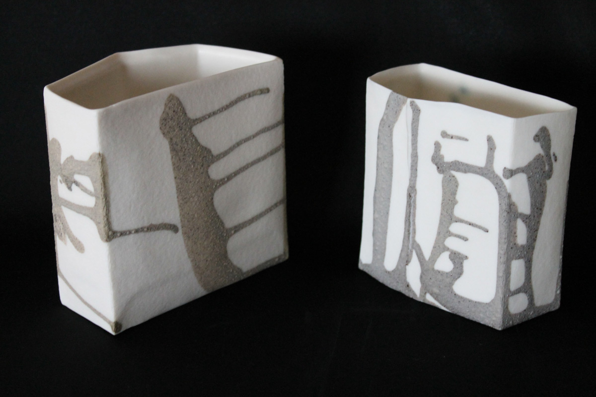 Porcelain Geometric Vessels With Ground Stone Deco