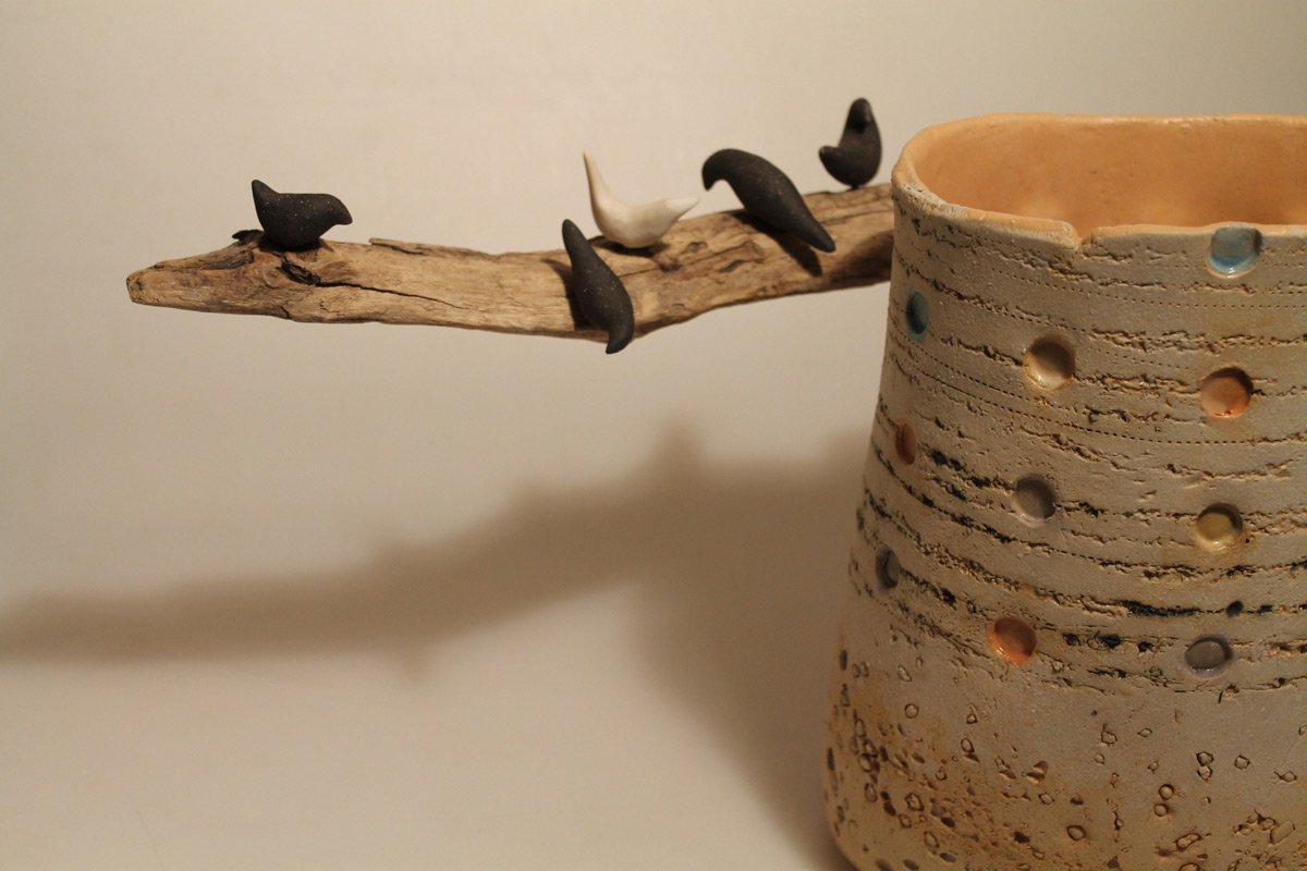 Stoneware Big Pitcher 'Pink Dovecote' With Wood And Birds Detail