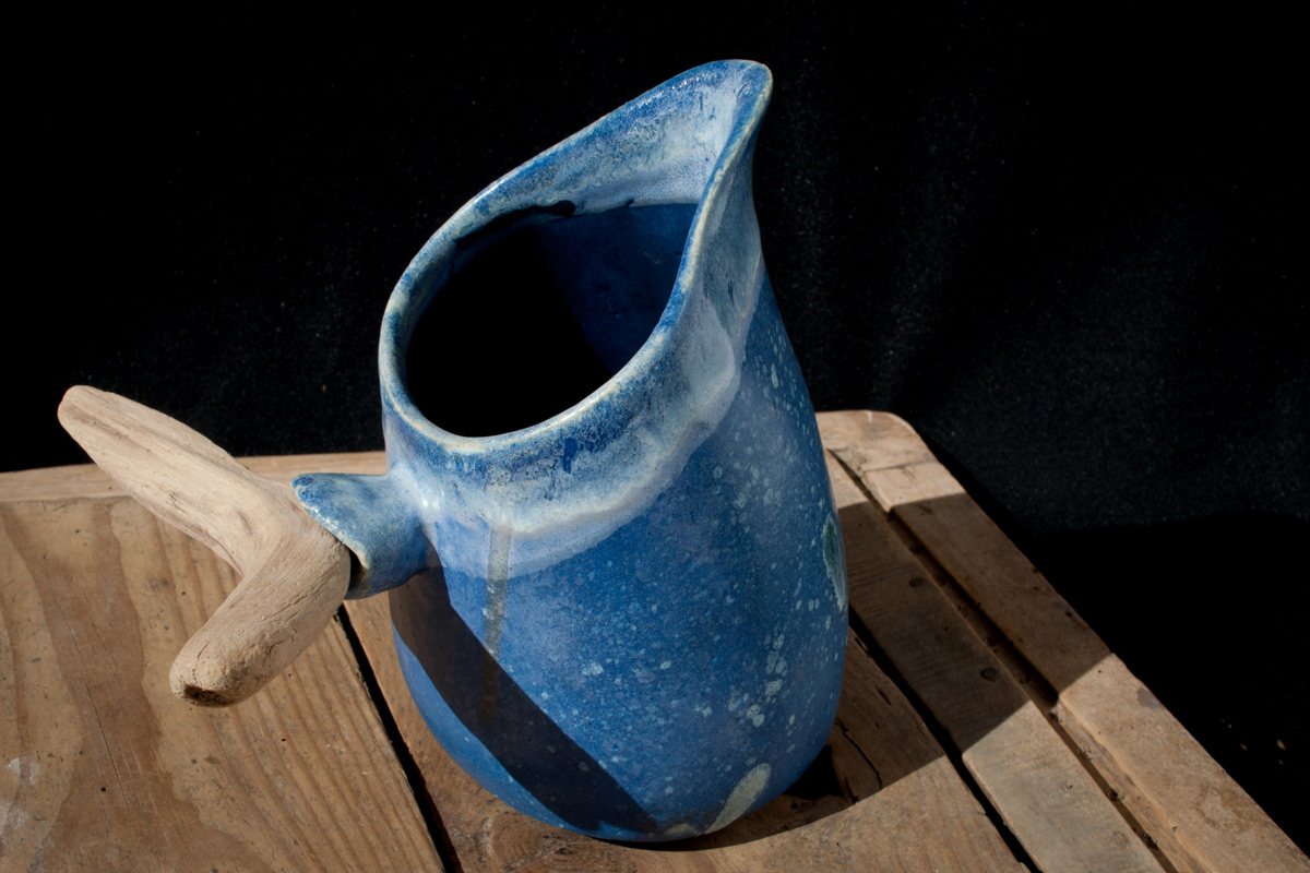 Stoneware Blue Glazed Pitcher With Wooden Tail