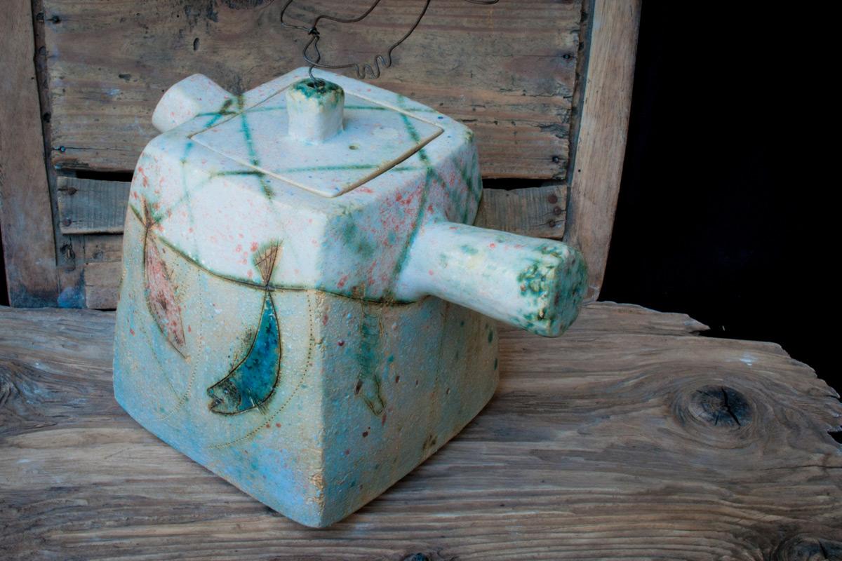 Stoneware Cubic Teapot 'Fishstory'
